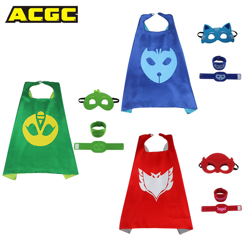 Pj Masks Costume Kids Catboy Owlette Gekko Cape With Masks Wristband Cartoon Superhero Cloak Cape Carnaval Costumes For Kids (6)