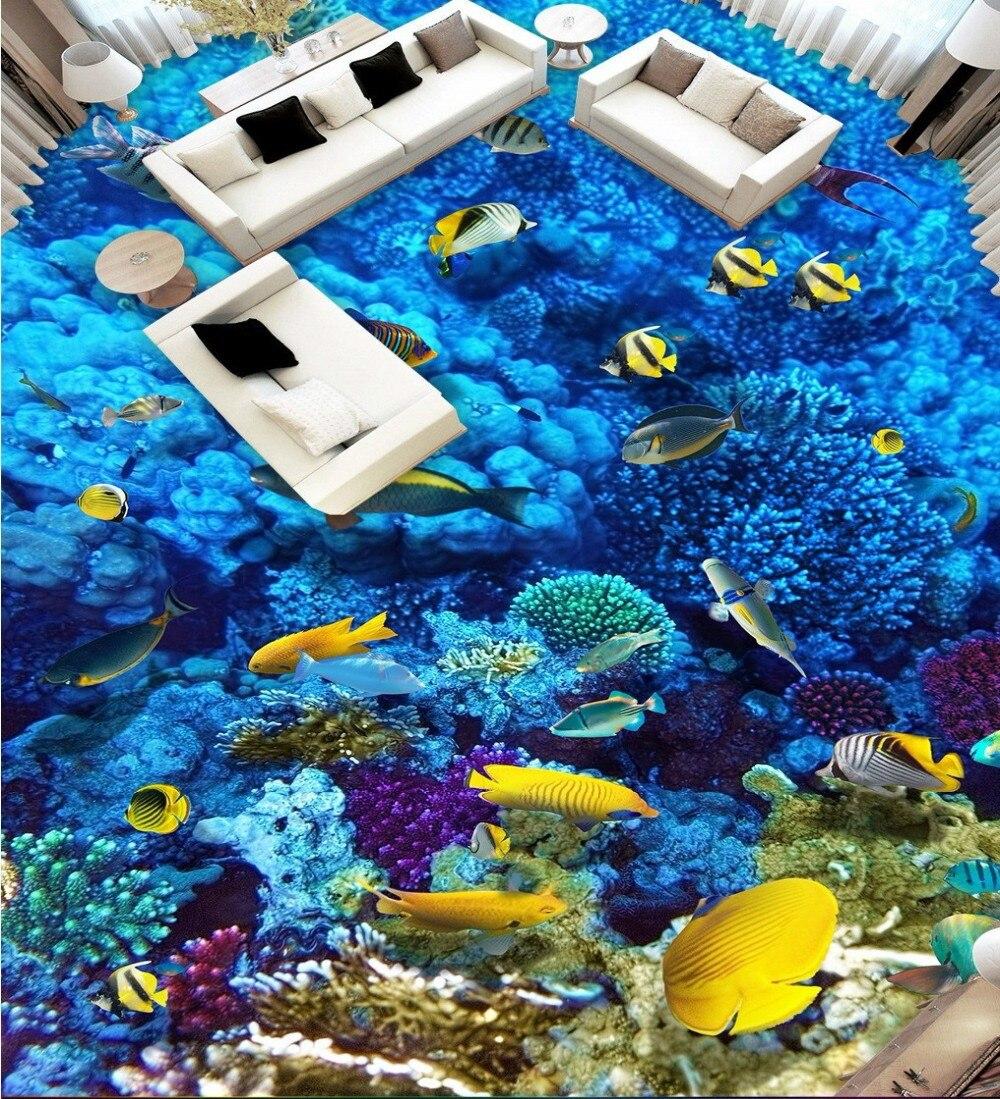 Free Shipping Underwater World Bathroom 3D Art Floor Tiles wear non-slip waterproof bedroom living room flooring wallpaper mural free shipping 3d stereo custom flooring wallpaper waterproof wear non slip mural bedroom hotel bathroom floor sticker