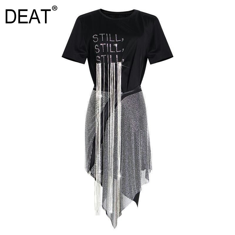 DEAT 2020 New Spring And Summer Fashion Women Clothing Round Neck Short Sleeves Letter T-shirt Embroidery Rivet Tassels Skirt