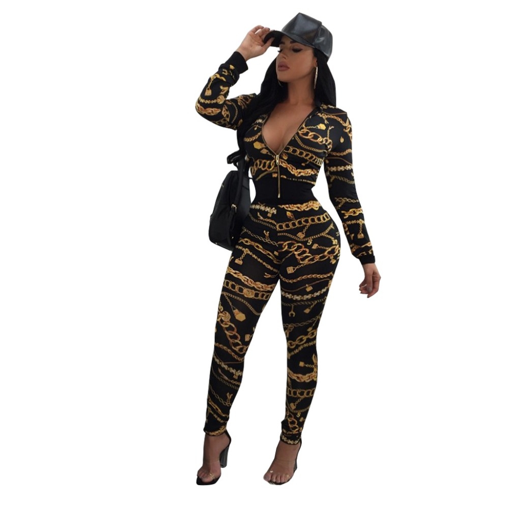 Autumn Zipper Up Full Sleeve 2 Piece Jumpsuits Black White Chain Print Crop Top And Long Pant Overalls Women Plus Size Jumpsuit