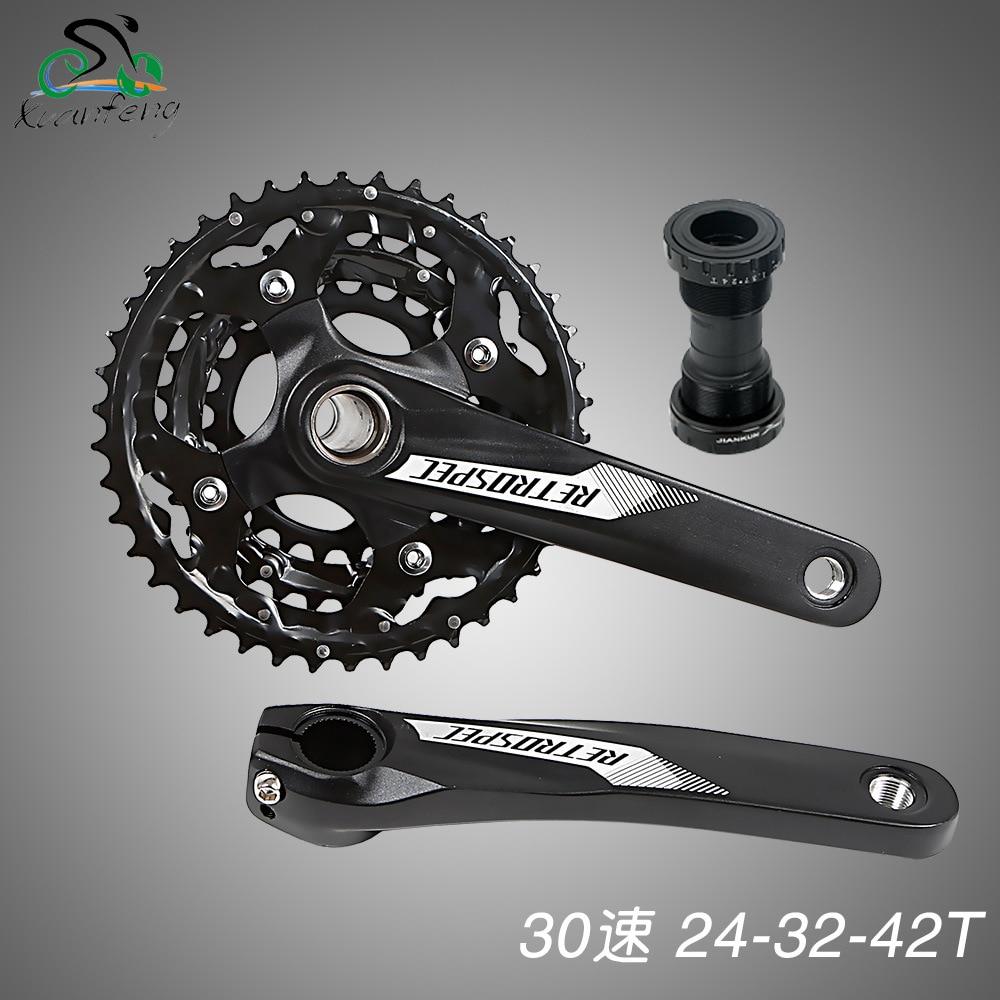 цена на Aluminum Alloy Bicycle Fixed Gear Crankset 170mm 104 BCD Mountain Bike Crank Chainwheel 24-32-42T Bracket