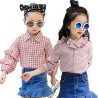 Girls White Ruffle Blouse Top Autumn 2016 Long Sleeve Cotton Back To School Shirts Children Flare