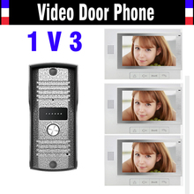 1 Camera 3 Monitor 7 Inch Monitor Video Door Phone Intercom Doorbell System IR Night Vision waterproof alloy pinhole Camera