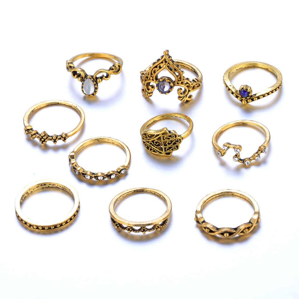 10 قطعة/المجموعة الأزياء ريترو البوهيمي دوامة جوهرة فنجر المفصل خواتم مجوهرات هدية