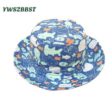 New Summer Sun Hat for Boys Girls Animal Print Baby Autumn Kids Beach Bucket Cap Children Sunscreen Fisherman