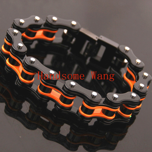 316L Stainless Steel Orange Black Motorcycle Bike Chain Bracelet Bangle Cool Charm Men's Boy Jewelry Heavy