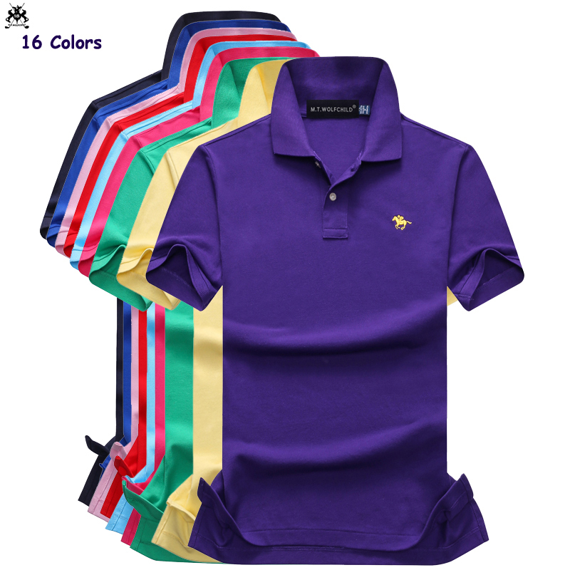 Good quality 2018 Summer new mens short sleeve brand   polos   shirts small horse casual cotton mens   polos   fashion mens slim tops