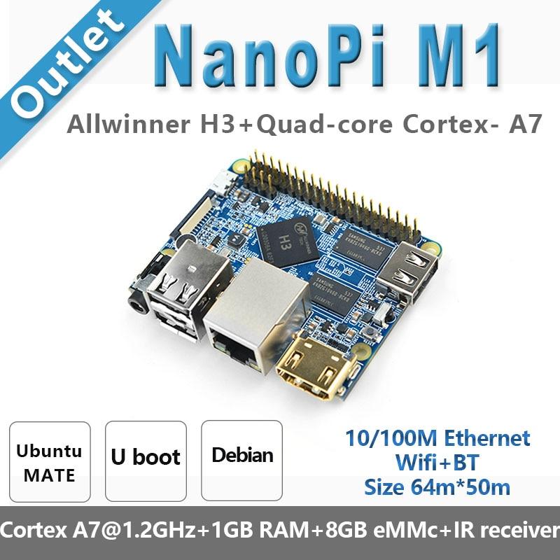 NanoPi M1 Plus  Allwinner H3,Quad-Core A7@1.2GHz Demo Board Compatible Raspberry Pi, Running U-boot, Ubuntu MATE, Debian