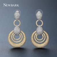 Newbark جديد أسلوب انخفاض القرط الإناث لون الذهب معبد aaa زركونيا الكلاسيكية دائرة كبيرة الأزياء والمجوهرات للنساء