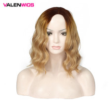 ValenWigs 16 Inch Wavy Ombre Brown Blonde Wig For Black/White Women Middle Part Glueless Hair Synthetic Wigs Daily Cosplay