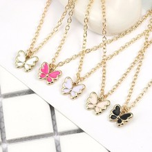 Kawaii Cartoon Insect Necklace For Women Girls Colorful Butterfly Pendant Necklaces Charm Clavicle Gold Chain Alloy Jewelry 2019