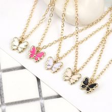 Kawaii Cartoon Insect Necklace For Women Girls Colorful Butterfly Pendant Necklaces Charm Clavicle Gold Chain Alloy Jewelry 2019(China)