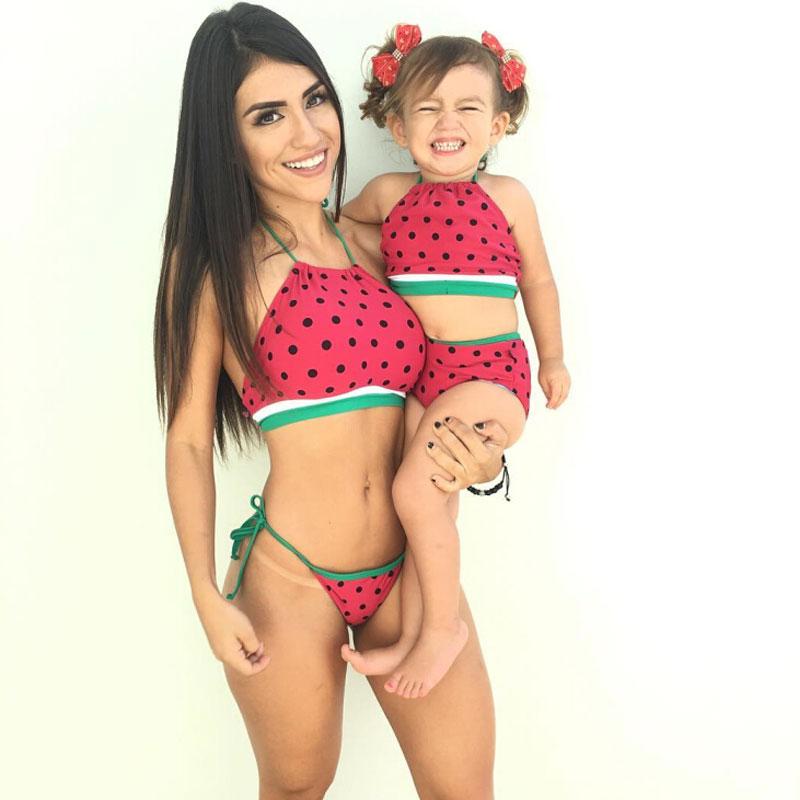 watermelon matching mommy and me tankini swimwear