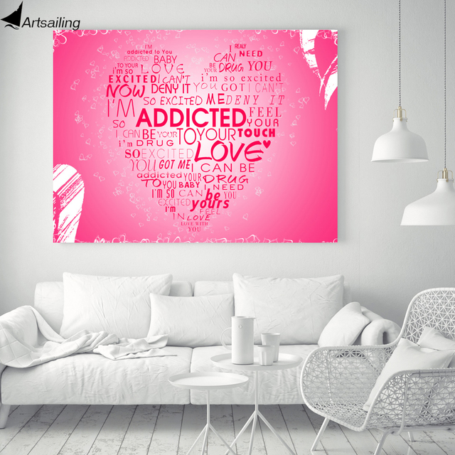 HD 1 piece printed addicted love heart pink canvas art posters and ...