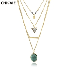CHICVIE Bohemia Gold color Choker Triangle Necklace Multilayer Necklace For Women Boho Jewelry Body jewelry Necklaces SNE160055