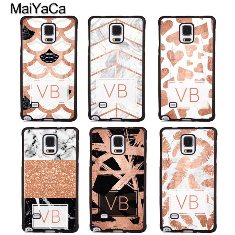 MaiYaCa PERSONALISED ROSE GOLD INITIALS WITH MARBLE Phone Case For Samsung Galaxy S5 S6 S7 edge S8 S9 plus Note 4 5 8 Back Cover