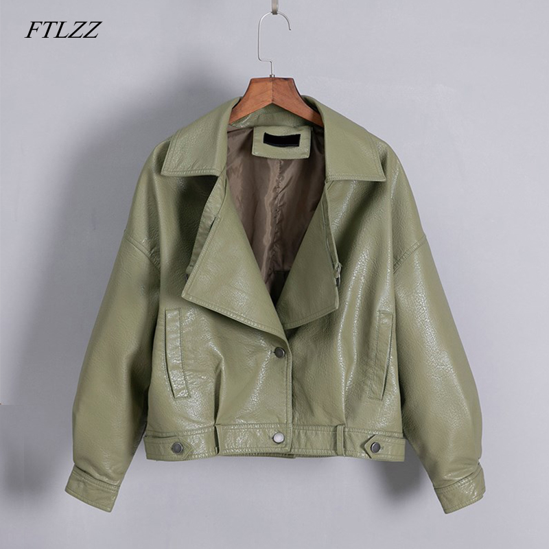 FTLZZ New Women Vintage Faux   Leather   Jacket Loose Coat Single Breasted Motorcycle   Leather   Jackets Female Short Outwear