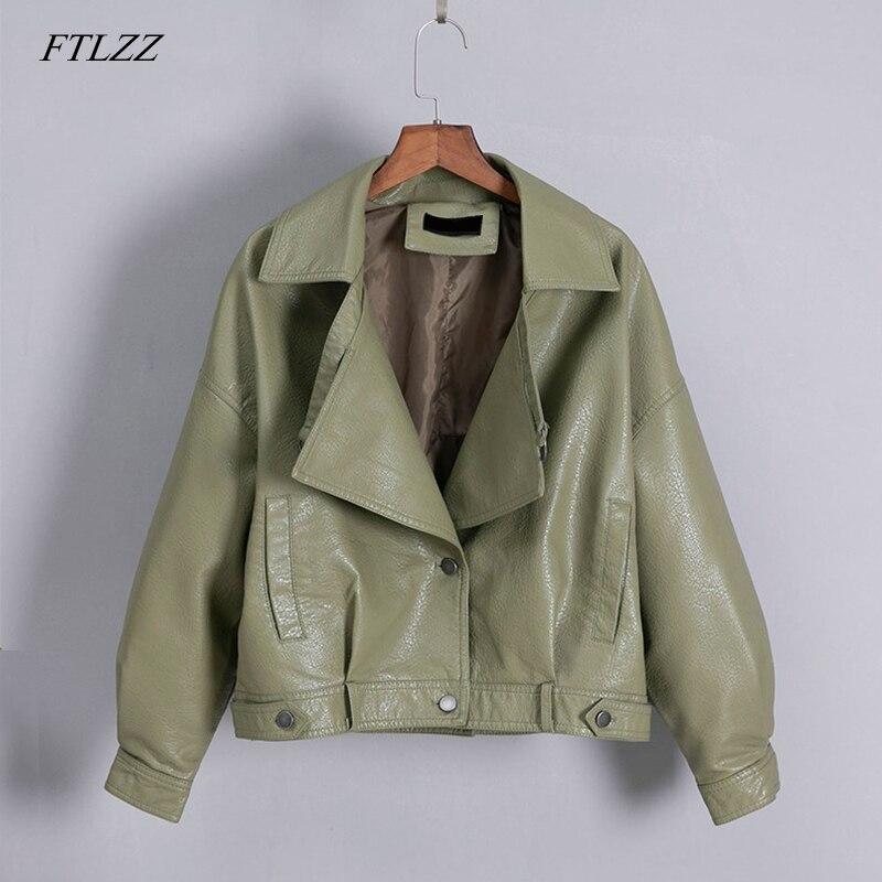 FTLZZ New Women Vintage Faux   Leather   Jacket Loose Coat Single Breasted Motorcycle   Leather   Jackets Female Short Outwear