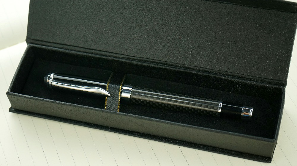 цена Creative Carbon Fiber Rod Rotating Metal Ballpoint Pen Gift box case crystal Ballpoint Pen metal pen stationery