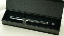 Creative Carbon Fiber Rod Rotating Metal Ballpoint Pen Gift box case crystal Ballpoint Pen metal pen