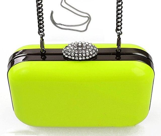 Neon Candy Hard Case Evening Bag Women Metal Chain Messenger Bag
