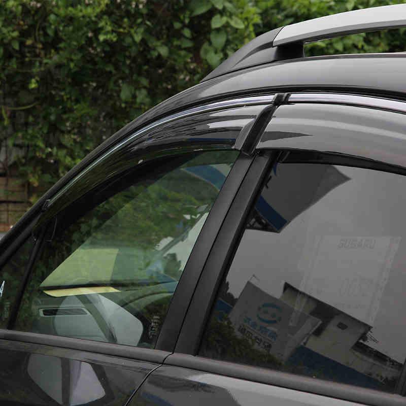 ABAIWAI Auto voiture fenêtre protecteur PC + acier inoxydable visière stores auvents pour Subaru XV 2012-2017 4 pièces/ensemble accessoires extérieurs