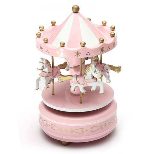 Drewniana pozytywka karuzela merry-go-round Muzycznej karuzeli konia zabawki gry dla dzieci Wystrój Domu Boże Narodzenie Ślub Prezent Urodzinowy