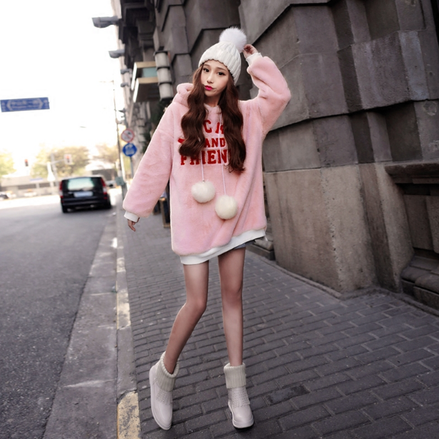 Sweat Polaire Rose Hoodies Avec Lettres Harajuku Moyen Long Pull Femme Hiver Manches Longues Chaud Streetwear Casual