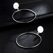 IPARAM New Arrive Silver/Gold Color Long Hollow Big Round Earrings Hiphop Rock Simple For Women Accessories Jewelry