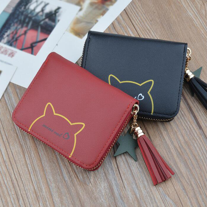 Women Short Tassels Wallets Lady Moneybags Mini Cat Coin Purse Pouch Wallet Cards ID Holder Purses Bags Woman Notecase Pocket