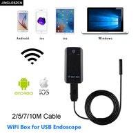 JINGLESZCN 5 5mm Wifi Camera USB Endoscope 2m 5m 7m 10m Waterproof Inspection Cam Borescope Snake