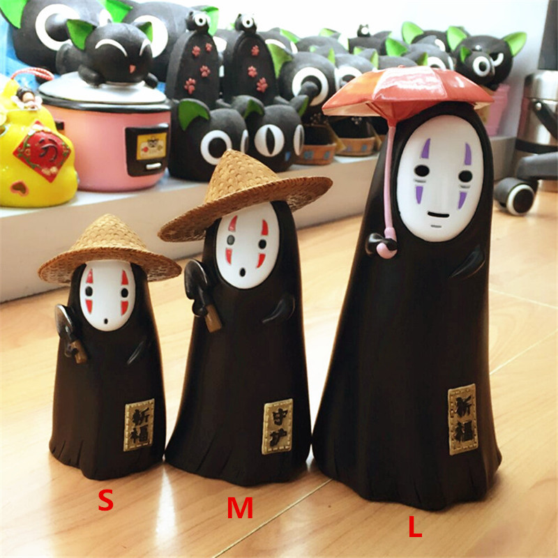 3 size Spirited Away no face man Money Box Funny Cartoon Kids Toys Piggy Bank Child Saving Box Coins Home Office Decor Figures