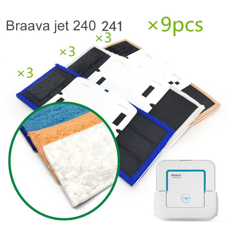 9 pcs/lot robot cleaner brushes spare parts 3pcs Wet Pad Mop +3pcsDamp Pad Mop + 3pcs Dry Pad Mop for iRobot Braava Jet 240 241 good quality 5300mah 3 7v replacement battery for for irobot bravva jet 240 241 244 robot cleaner parts accessoies not mop