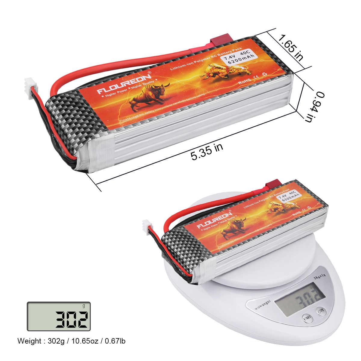 Floureon 2S2P 7,4 V 6200 mAh 40C Lipo батарея для грузовик с дистанционным управлением Багги RC игрушки (T Plug)