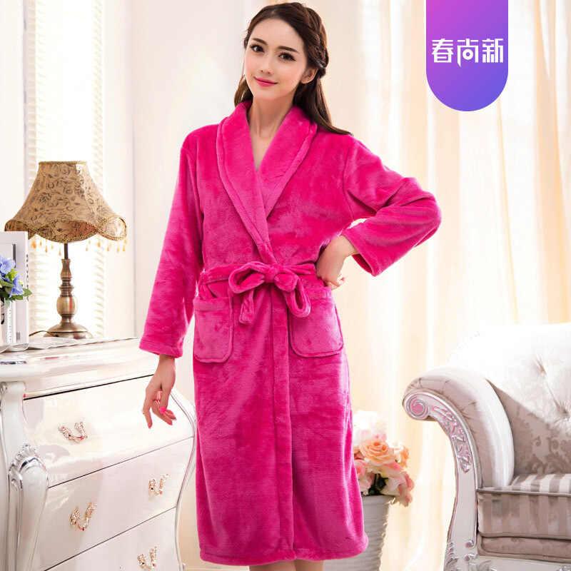 Модное популярное розовое зимнее мини-кимоно осеннее Фланелевое банное платье Yukata ночная рубашка ночное белье пижамы один размер
