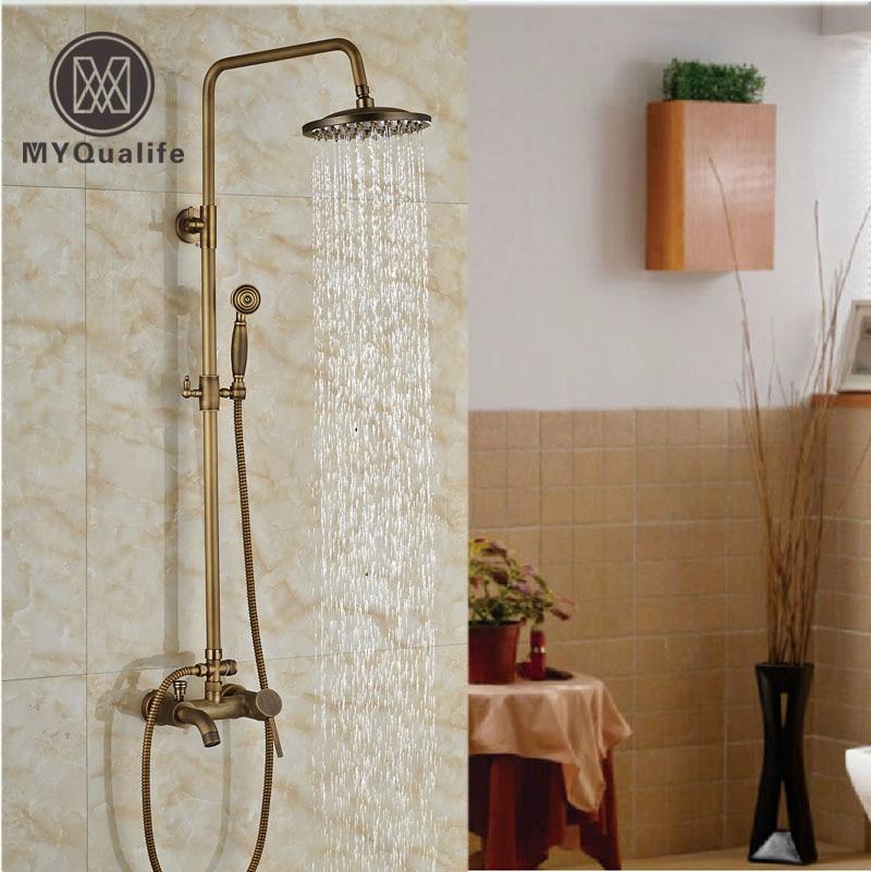 Luxury Antique Brass shower Faucet Set w/ Mixer Shower Tap Spout & Handle Shower wall mount single handle bath shower faucet with handshower antique brass bathroom shower mixer tap