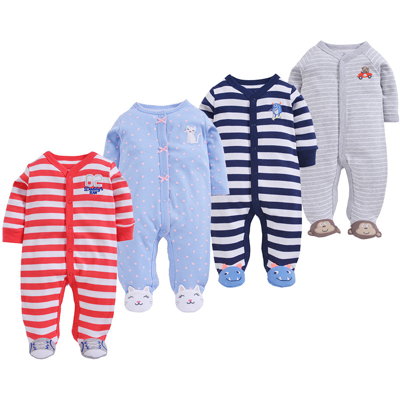 Newborn baby pajamas toddler boys jumpsuit overalls cotton baby