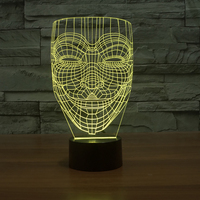 3D Visual Home Decor Lighting Abstract Line Face Led Night Lights For Kids Touch Button Usb