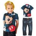 Conjuntos de Jeans Para Crianças Meninos Roupas de Bebê Verão Minnie de Mickey Mouse 2 pcs Treino Conjunto Roupas Camisas + Calças Jeans Garcon