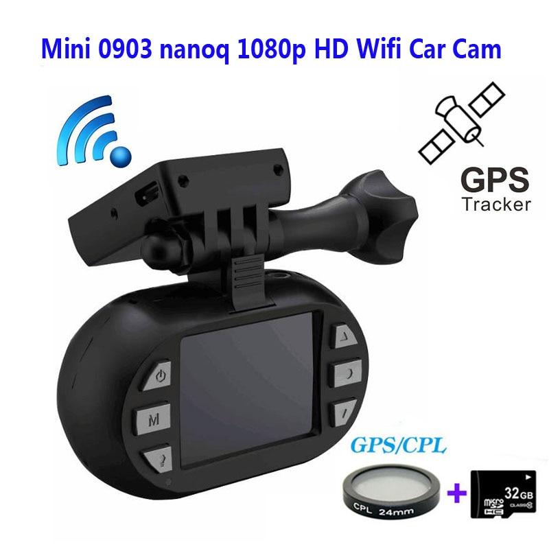 Бесплатная Доставка!!Оригинальный мини-0903/nanoq не 1080р HD беспроводной 7г NT96655 IMX322 GPS Автомобильный видеорегистратор камера черточки GPS+CPL фильтр+32GB карта