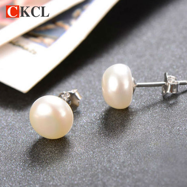Hot Ing 925 Sterling Silver Stud Earrings To Female The Real Natural Freshwater Pearl