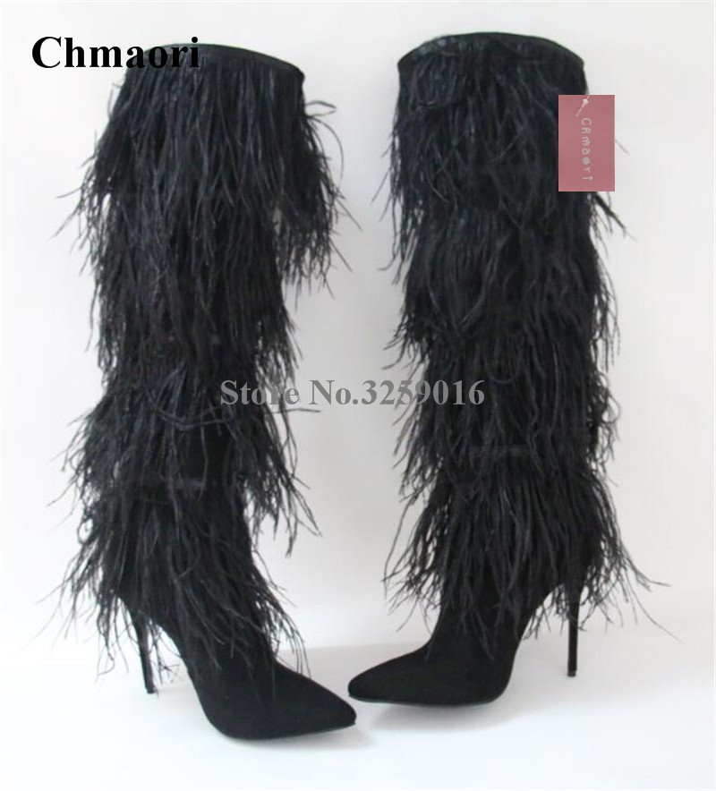 New Design Women Fashion Pointed Toe Long Fur Over Knee Boots Black Blue White Tassels Long High Heel Boots Dress ShoesNew Design Women Fashion Pointed Toe Long Fur Over Knee Boots Black Blue White Tassels Long High Heel Boots Dress Shoes