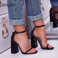BYQDY Classics Sexy Women Casual Dress Shoes Peep Toe Thick High Heels Shoes Woman Sandals Black Nude Size 35-40 Big Discount summer shoes women sandals genuine leather sandals fashion thick high heels peep toe shoes woman office lady dress casual shoes