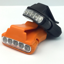 Adjustable Clip On 5 LED Head Cap Hat Light Fishing HeadLamp Headlight Torch without Battery for Outdoor Fishing Camping Hunting