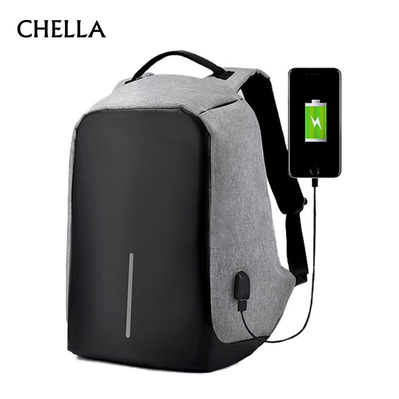 Anti-Theft Backpack USB Charge 15.6 Inch Laptop Men Women Bag Security Large Capacity Grey Travel School Bags Mochila BP0164