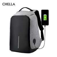 Anti Theft Backpack USB Charge 15 6 Inch Laptop Men Women Bag Security Large Capacity Grey