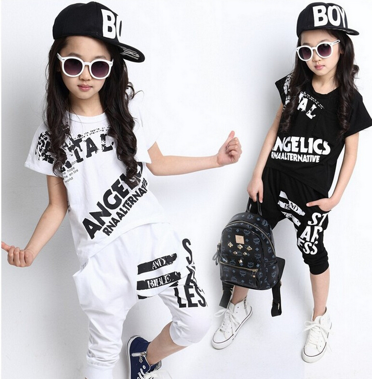 Summer Children Hip Hop Style Clothing Sets Boys Girls Fashion Casual 2pcs Suits T Shirt+Harem Capris Pants Kids Clothes Twinset kids hip hop clothing autumn new boys kids suit children tracksuit boys long shirt pants sweatshirt casual clothes 2 color
