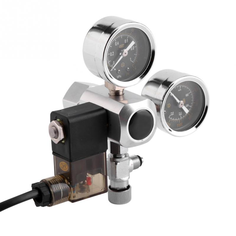 G5/8 Aquarium System Dual Gauge CO2 Pressure Regulator Bubble Counter Solenoid Valve 220V Aquarium Bubble Counter CO2 Control