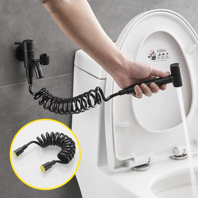 Bathroom hot and cold bidet tap with bidet shower black bidet shower Brass wall mounted woman washer mop tap with shattaf set