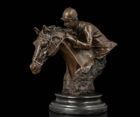 xd 003430 Art Deco Sculpture Horse Racing Man Ride Horse Bronze Statue